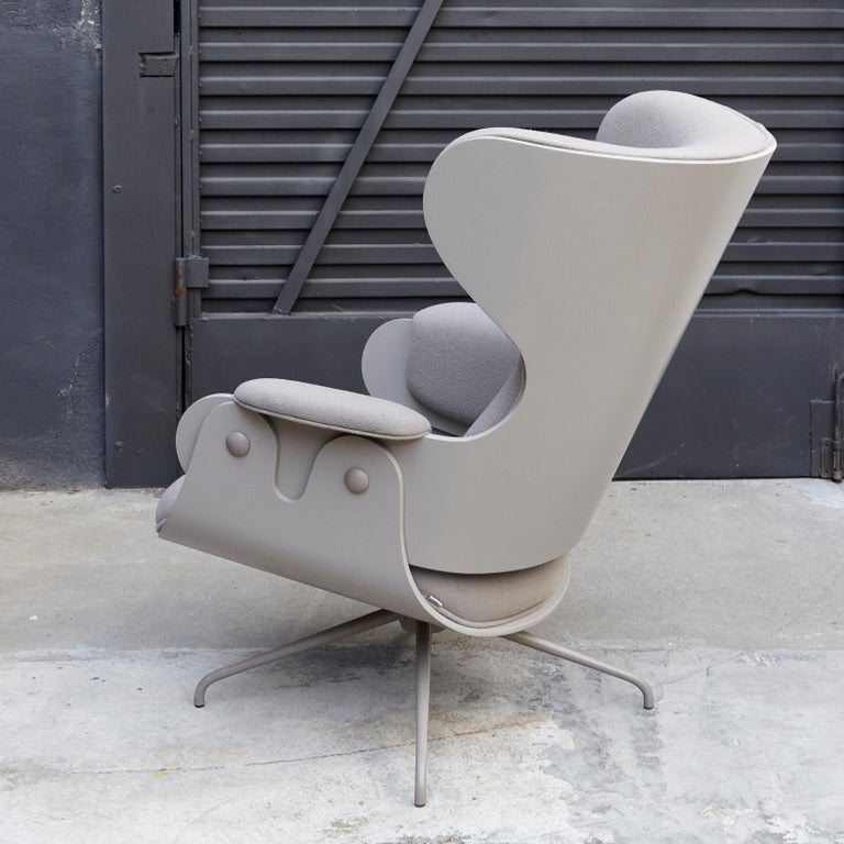 Jaime Hayon, Contemporary, Plywood Grey Upholstery Lounger Armchair For Sale 1