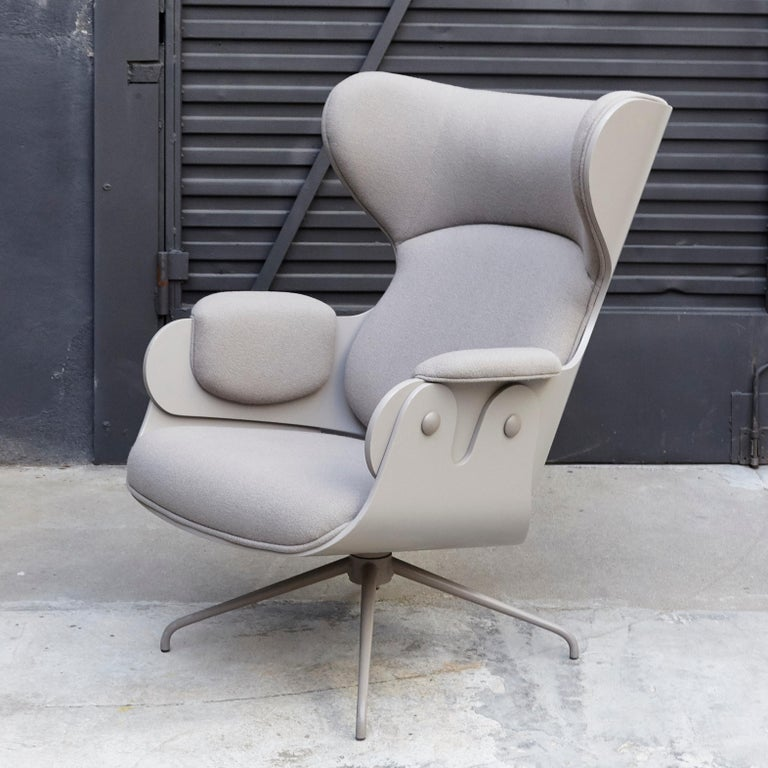 Jaime Hayon, Contemporary, Plywood Grey Upholstery Lounger Armchair For Sale 2