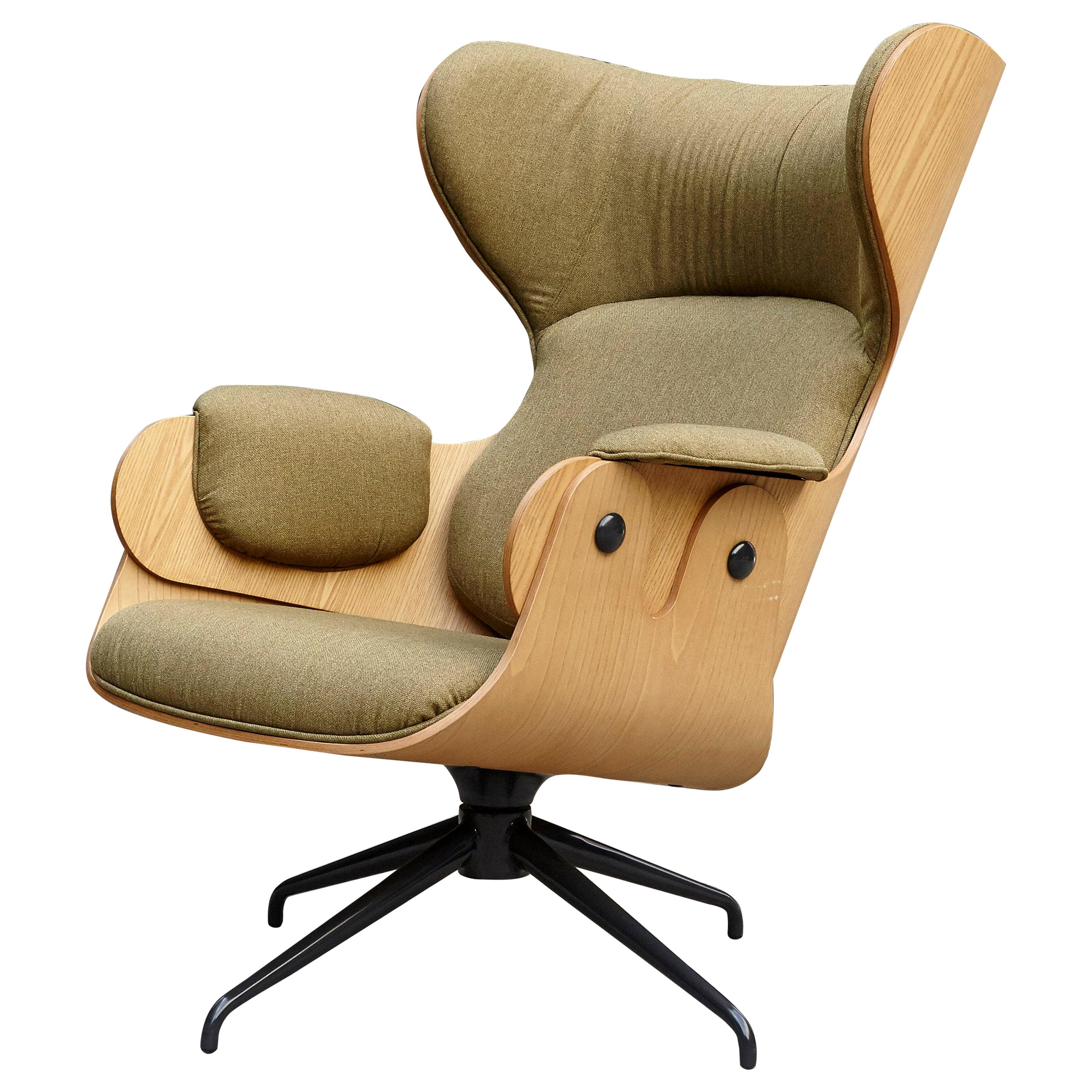 Jaime Hayon, Contemporary, Playwood Walnut Green Upholstery Lounger Armchair