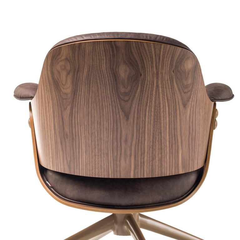 Jaime Hayon, Contemporary, Plywood Walnut Leather Low Lounger Armchair For Sale 4