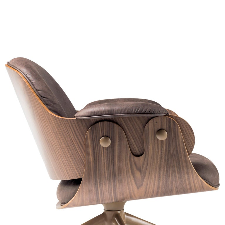 Jaime Hayon, Contemporary, Plywood Walnut Leather Low Lounger Armchair For Sale 5