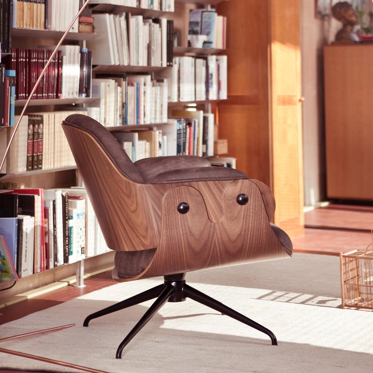 Jaime Hayon, Contemporary, Plywood Walnut Leather Low Lounger Armchair For Sale 8