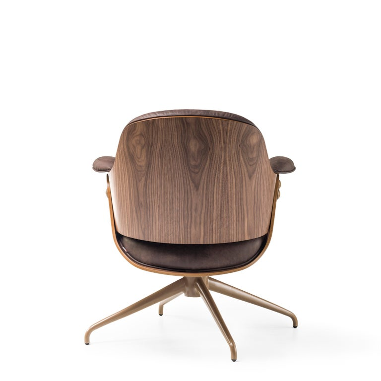 Modern Jaime Hayon, Contemporary, Plywood Walnut Leather Low Lounger Armchair For Sale
