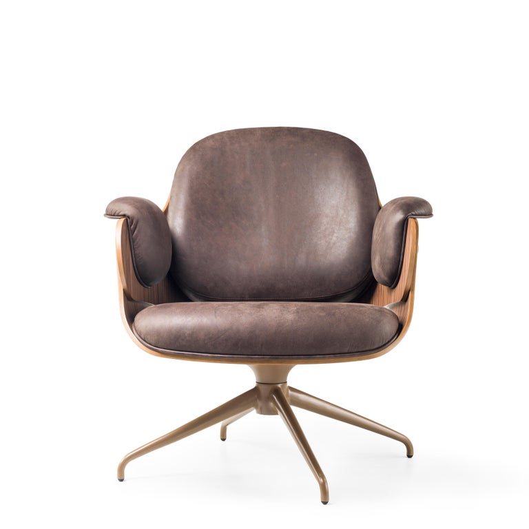 Spanish Jaime Hayon, Contemporary, Plywood Walnut Leather Low Lounger Armchair For Sale