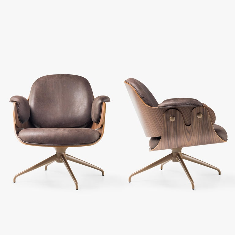 Jaime Hayon, Contemporary, Plywood Walnut Leather Low Lounger Armchair In New Condition For Sale In Barcelona, Barcelona