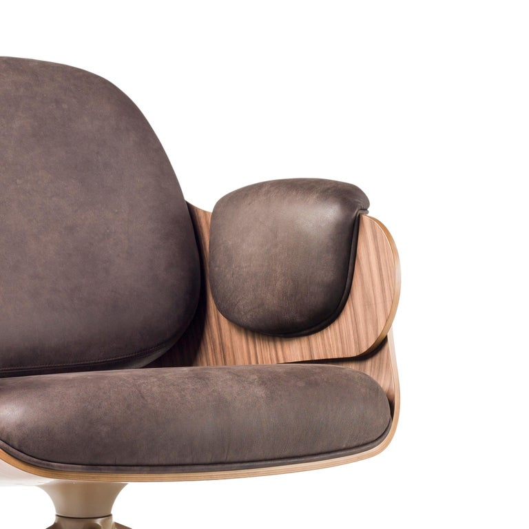 Jaime Hayon, Contemporary, Plywood Walnut Leather Low Lounger Armchair For Sale 1