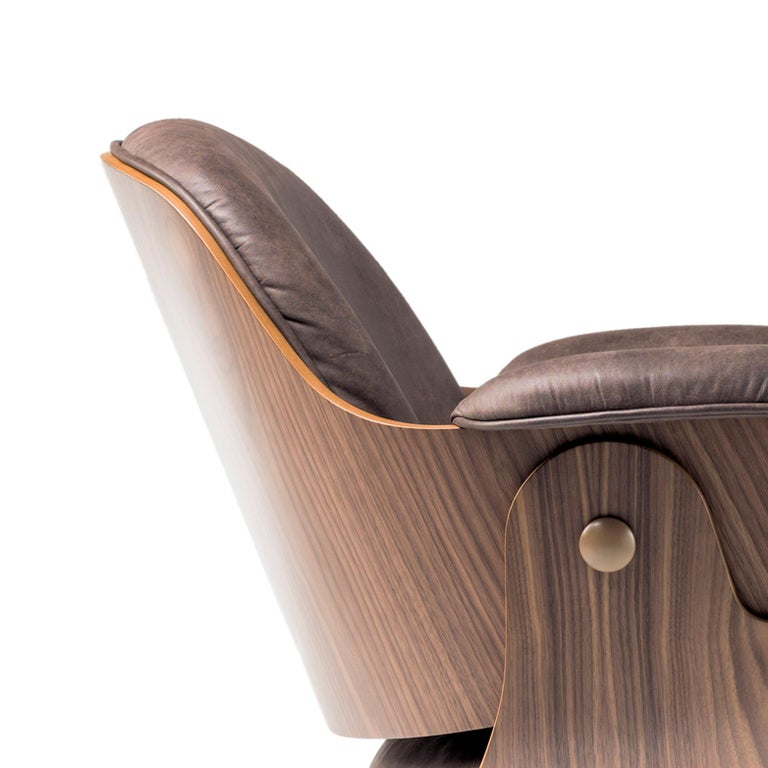 Jaime Hayon, Contemporary, Plywood Walnut Leather Low Lounger Armchair For Sale 2
