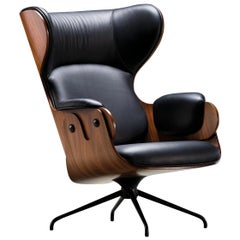 Jaime Hayon, Contemporary, Playwood Walnut Leather Upholstery Lounger Armchair