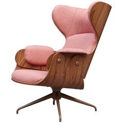 Jaime Hayon, Contemporary, Playwood Walnut Pink Upholstery Lounger Armchair