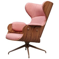 Jaime Hayon, Contemporary, Playwood Walnut Pink Upholstery Lounger Armchair