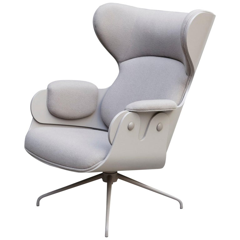 Jaime Hayon, Contemporary, Plywood Grey Upholstery Lounger Armchair For Sale