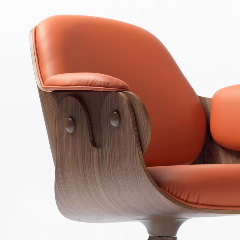 Modern Jaime Hayon, Contemporary, Plywood Orange Leather Low Lounger Armchair For Sale