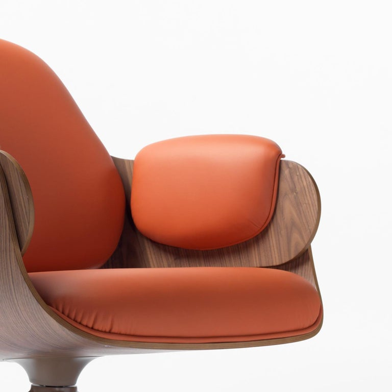 Spanish Jaime Hayon, Contemporary, Plywood Orange Leather Low Lounger Armchair For Sale