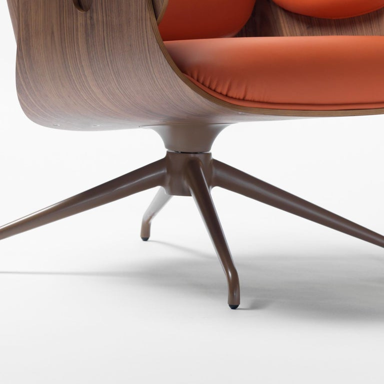 Jaime Hayon, Contemporary, Plywood Orange Leather Low Lounger Armchair In New Condition For Sale In Barcelona, Barcelona