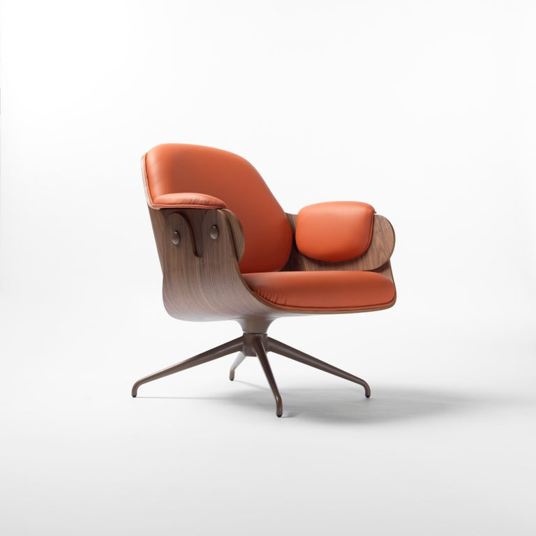 Aluminum Jaime Hayon, Contemporary, Plywood Orange Leather Low Lounger Armchair For Sale