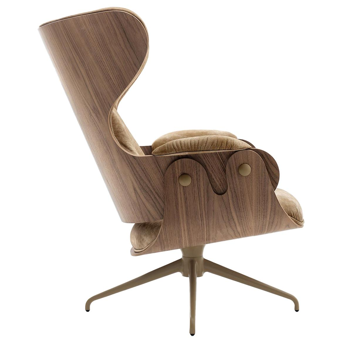 Jaime Hayon, Contemporary, Plywood Walnut Leather Upholstery Lounger Armchair