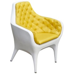 Jaime Hayon Contemporary Showtime Armchair Lacquered White and Yellow