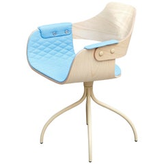 Jaime Hayon, Contemporary Upholstered Blue Wood Chair Showtime by BD Barcelona