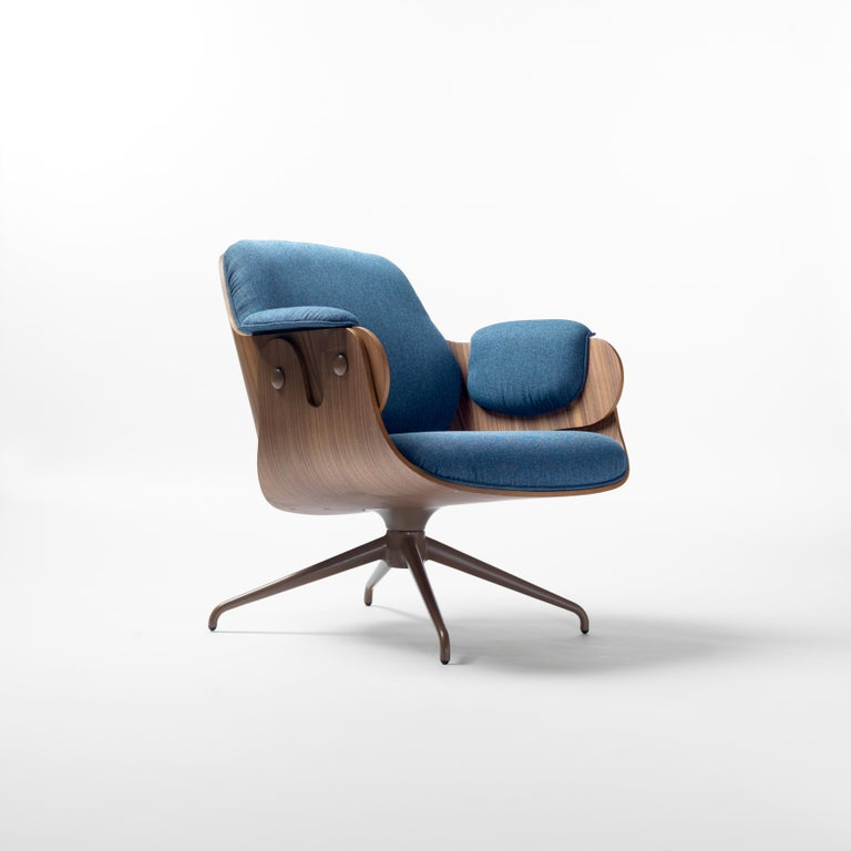 Jaime Hayon, Contemporary, Walnut, Blue Upholstery Low Lounger Armchair In New Condition For Sale In Barcelona, Barcelona