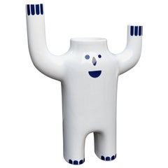 Jaime Hayon Contemporary White Small Glazed Happy Susto Vase