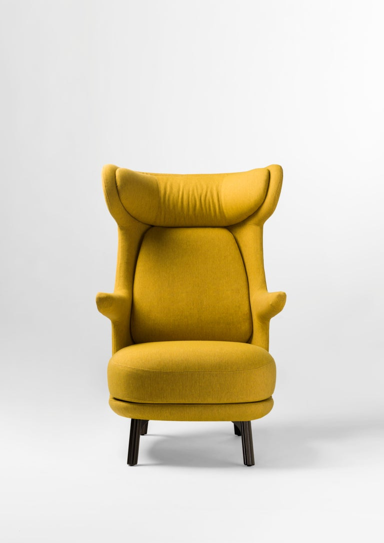 Jaime Hayon Dino Armchair in Fabric or Leather Upholstery by BD Barcelona. Dino is the new armchair designed by Jaime Hayon for BD Barcelona.  Cushion covers are removable. Cast aluminium legs painted in a powder coating.   Available is a