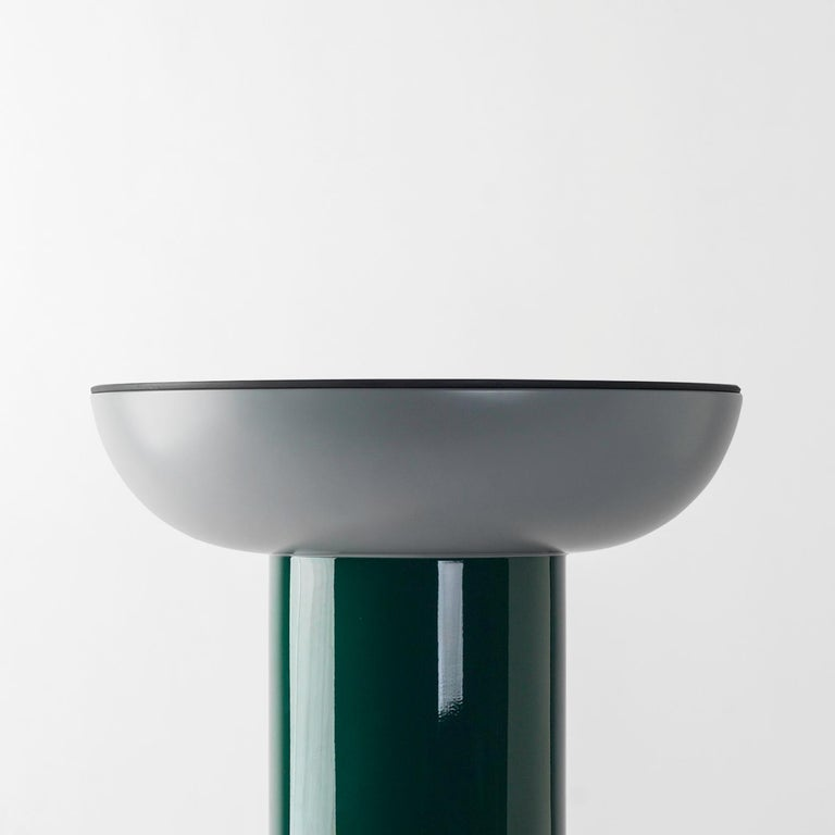 Multicolor explorer #01 Table  Design by Jaime Hayon, 2019 Manufactured by BD Barcelona.  Laquered fibreglass body. Solid turned wooden legs and lacquered. Painted glass tabletop.  40 Ø x 50 cm  - Glass: RAL 7021 - Top: RAL 6005 Mate -