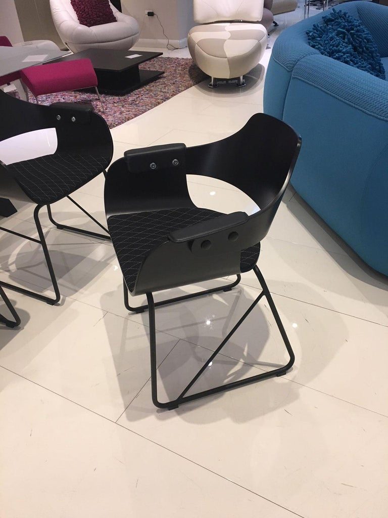 Lacquer Jaime Hayon, Set of 4 Contemporary Black Armchairs by BD Barcelona For Sale