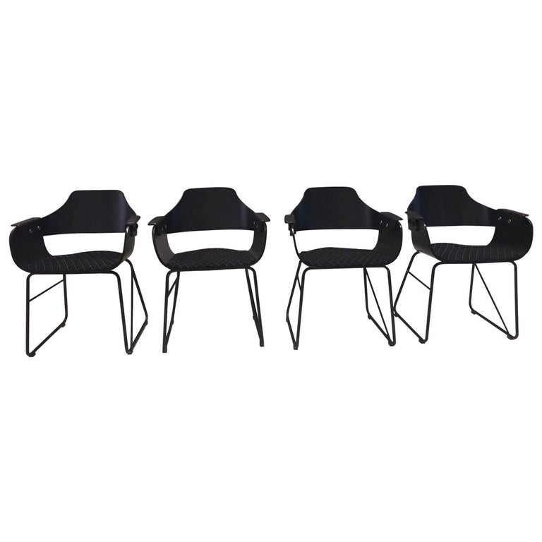 Jaime Hayon, Set of 4 Contemporary Black Armchairs by BD Barcelona For Sale