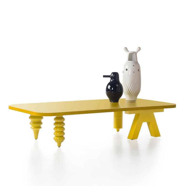 Spanish Jaime Hayon Yellow Multileg Low Table by BD Barcelona For Sale
