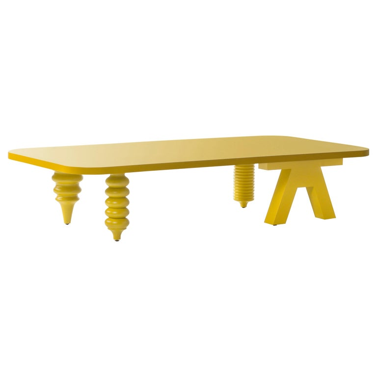 Jaime Hayon Yellow Multileg Low Table by BD Barcelona For Sale