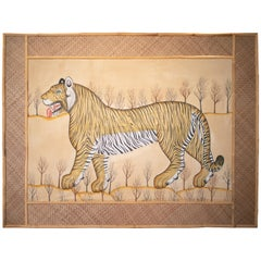 Jaime Parlade Designed Tiger Drawn on Fabric and Framed in Bamboo & Indian Straw