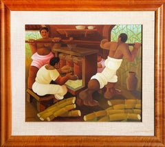 Grinding Sugar Cane, Painting by Jaimendes