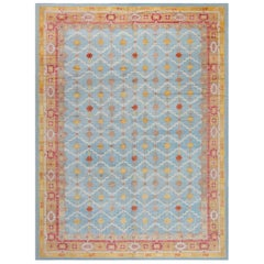 Jaipur, a Traditional Blue, Gold, Red and White Hand Knotted Wool Rug