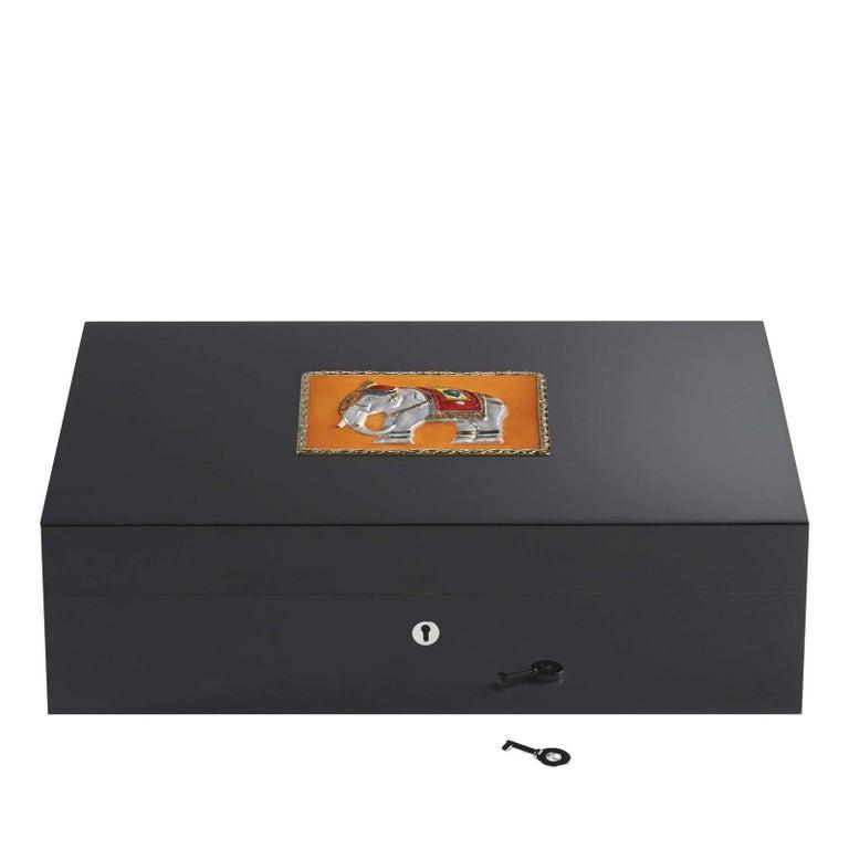 Modern Jaipur Orange Humidor for 110 Cigars For Sale