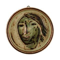 Jais Nielsen for Royal Copenhagen, Ceramic Plaque with Face
