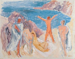 'Figures on a Beach', Large Post-Impressionist oil, Paris, Salon d'Automne