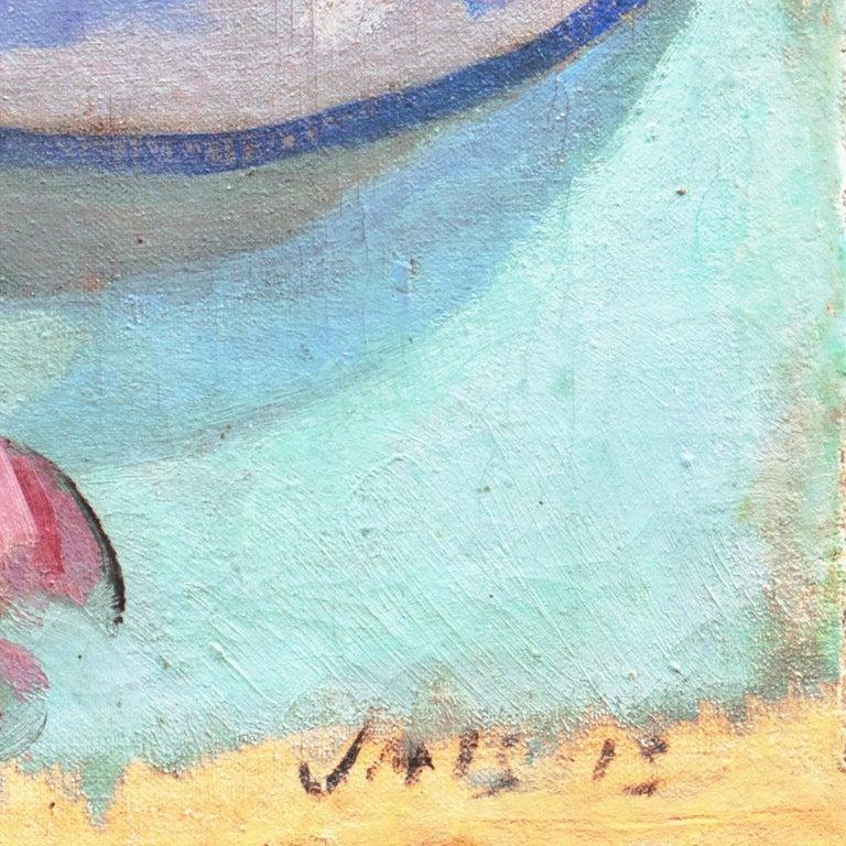 'Pink Roses & a Quimper Plate' French Post-Impressionist, Paris, Salon d'Automne - Painting by Jais Nielsen