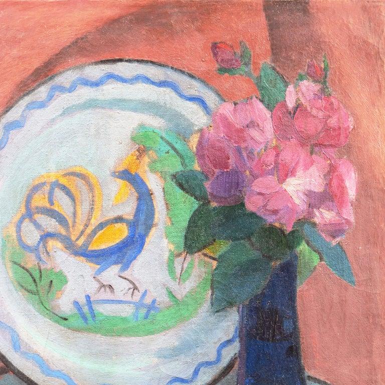 'Pink Roses & a Quimper Plate' French Post-Impressionist, Paris, Salon d'Automne - Gray Interior Painting by Jais Nielsen