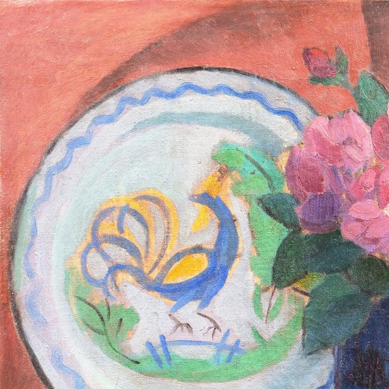 'Pink Roses & a Quimper Plate' French Post-Impressionist, Paris, Salon d'Automne For Sale 1