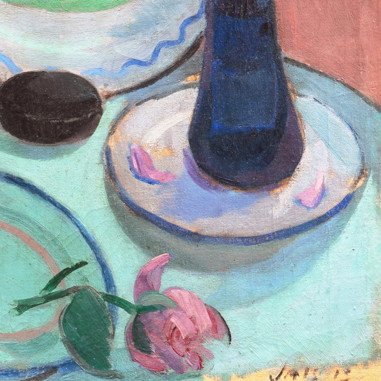 'Pink Roses & a Quimper Plate' French Post-Impressionist, Paris, Salon d'Automne For Sale 2