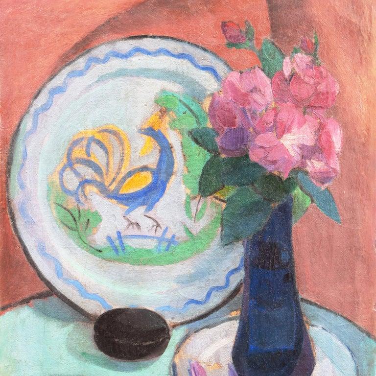 'Pink Roses & a Quimper Plate' French Post-Impressionist, Paris, Salon d'Automne For Sale 3
