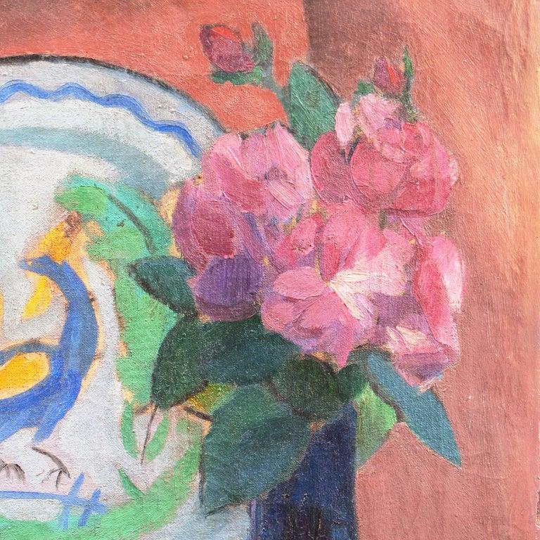 'Pink Roses & a Quimper Plate' French Post-Impressionist, Paris, Salon d'Automne For Sale 4