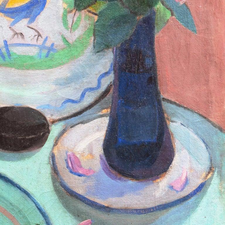 'Pink Roses & a Quimper Plate' French Post-Impressionist, Paris, Salon d'Automne For Sale 5