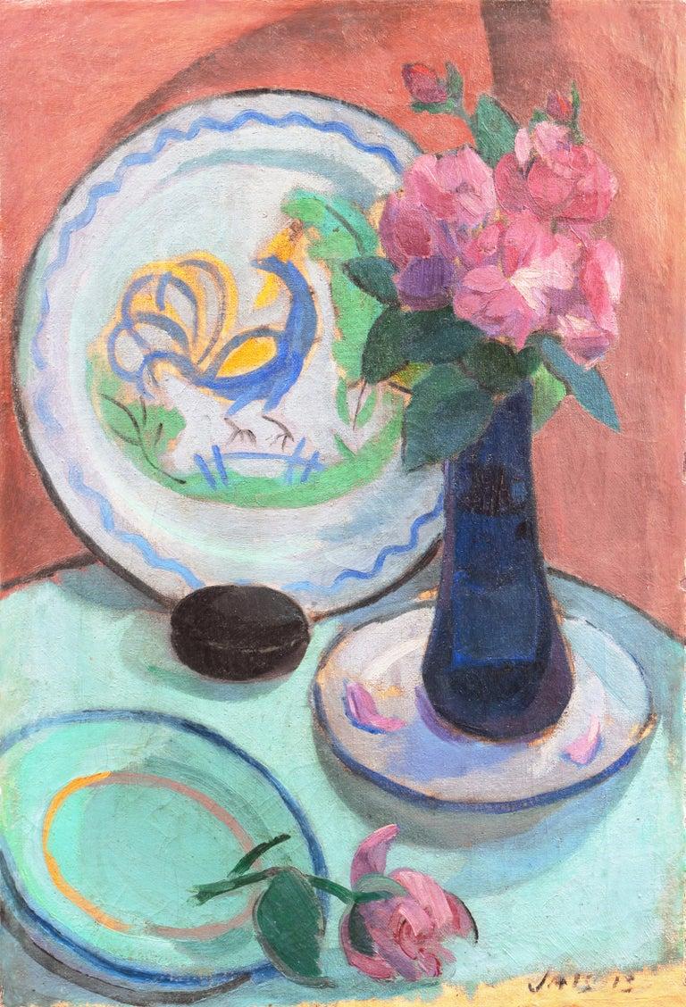 Jais Nielsen Interior Painting - 'Pink Roses & a Quimper Plate' French Post-Impressionist, Paris, Salon d'Automne
