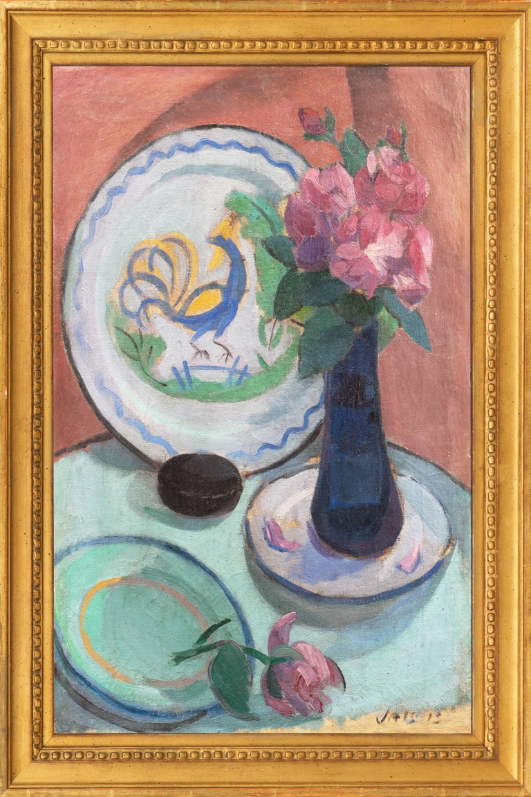 'Pink Roses with a Quimper Plate', Danish Post-Impressionist Still Life, Paris - Painting by Jais Nielsen