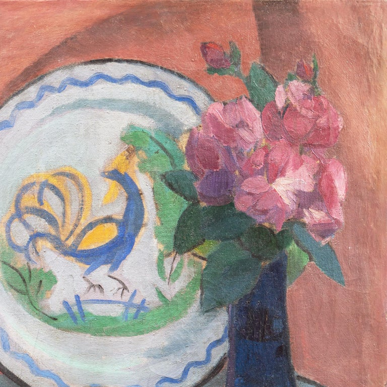 'Pink Roses with a Quimper Plate', Danish Post-Impressionist Still Life, Paris For Sale 1