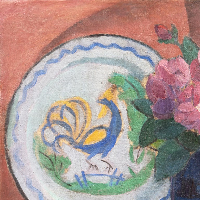 'Pink Roses with a Quimper Plate', Danish Post-Impressionist Still Life, Paris For Sale 3