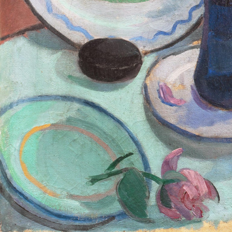 'Pink Roses with a Quimper Plate', Danish Post-Impressionist Still Life, Paris For Sale 4