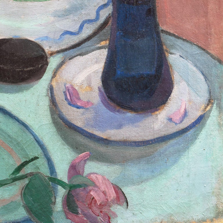 'Pink Roses with a Quimper Plate', Danish Post-Impressionist Still Life, Paris For Sale 5