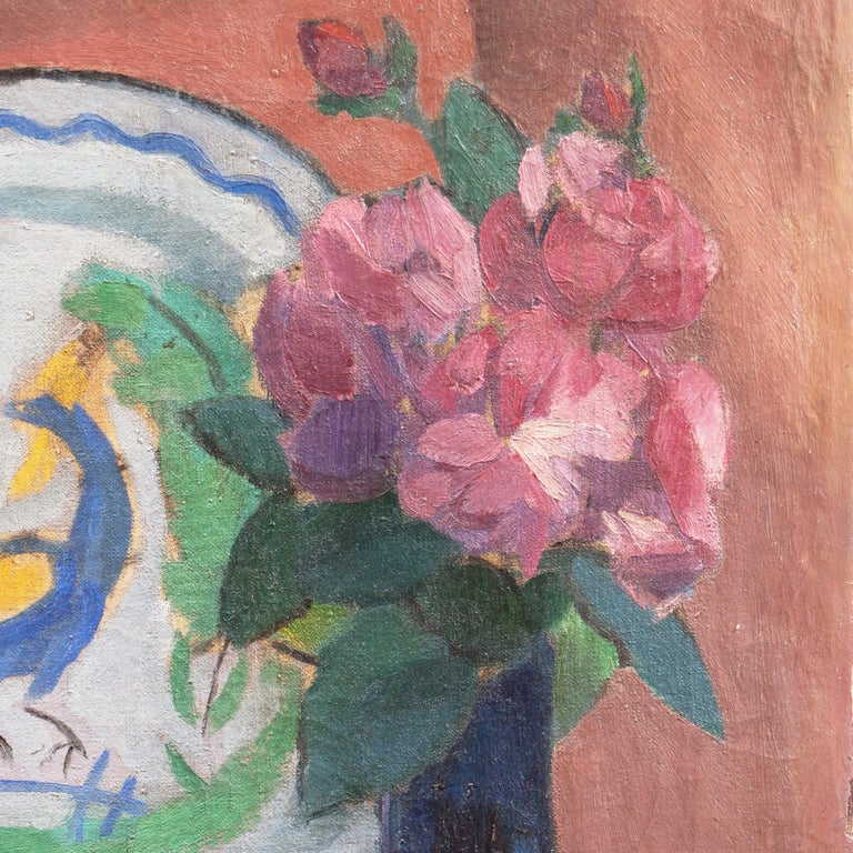 'Pink Roses with a Quimper Plate', Danish Post-Impressionist Still Life, Paris For Sale 6